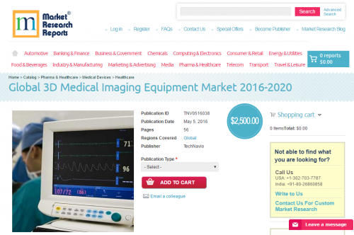 Global 3D Medical Imaging Equipment Market 2016 - 2020'