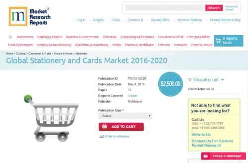 Global Stationery and Cards Market 2016 - 2020'