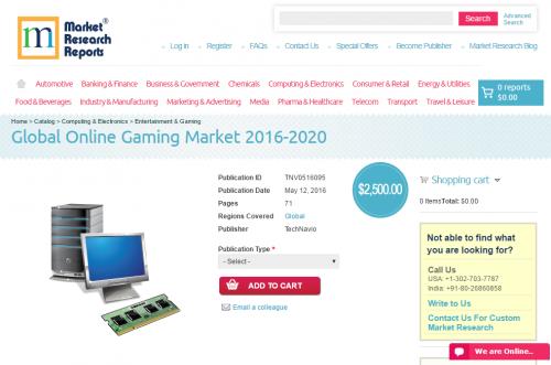 Global Online Gaming Market 2016 - 2020'