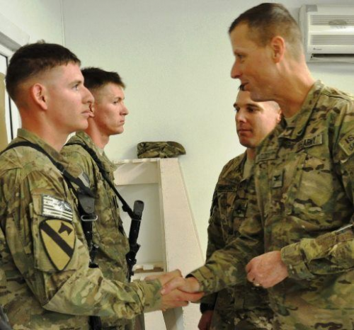 SSG Griffin being recognized in Afghanistan'