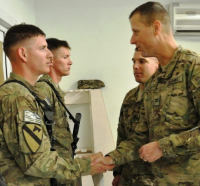 SSG Griffin being recognized in Afghanistan