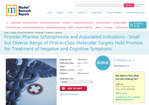 Frontier Pharma: Schizophrenia and Associated Indications'