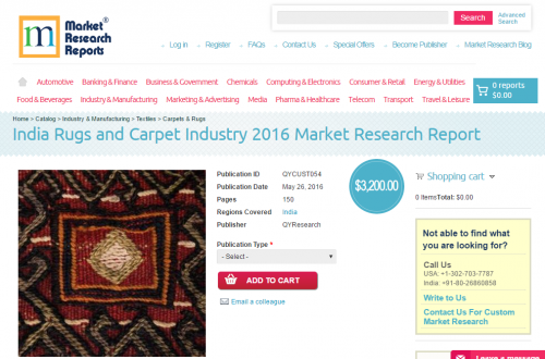 India Rugs and Carpet Industry 2016 Market Research Report'