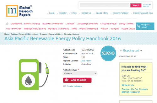 Asia Pacific Renewable Energy Policy Handbook 2016'