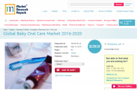 Global Baby Oral Care Market 2016 - 2020