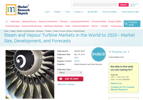 Steam and Vapour Turbine Markets in the World to 2020'