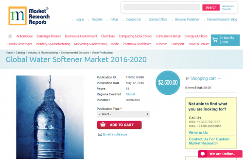 Global Water Softener Market 2016 - 2020'