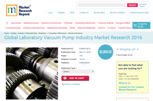 Global Laboratory Vacuum Pump Industry Market Research 2016'