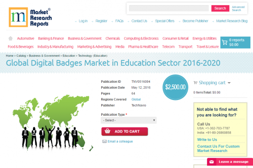 Global Digital Badges Market in Education Sector 2016 - 2020'