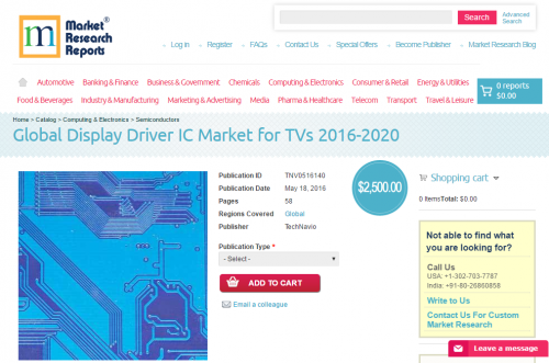 Global Display Driver IC Market for TVs 2016 - 2020'