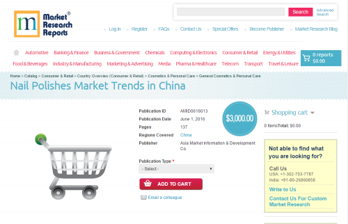 Nail Polishes Market Trends in China'
