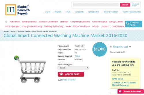 Global Smart Connected Washing Machine Market 2016 - 2020'