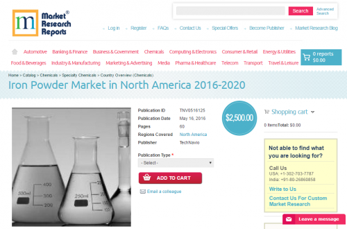 Iron Powder Market in North America 2016 - 2020'