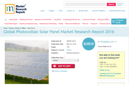 Global Photovoltaic Solar Panel Market Research Report 2016'