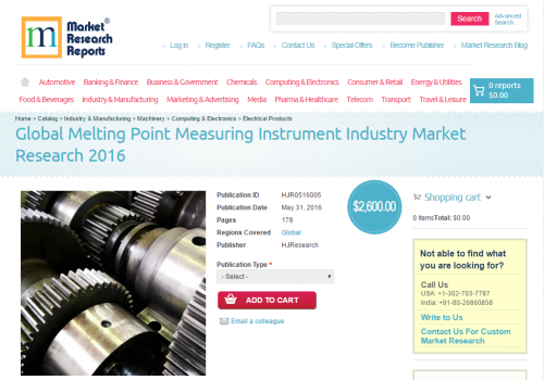 Global Melting Point Measuring Instrument Industry 2016'
