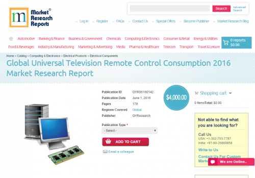 Global Universal Television Remote Control Consumption 2016'