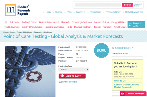 Point of Care Testing - Global Analysis & Market For'