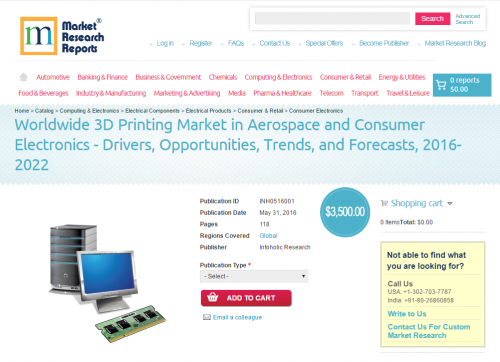 Worldwide 3D Printing Market in Aerospace'