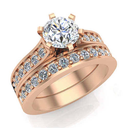 20ct Natural Diamond Cathedral Engagement Accent Ring'