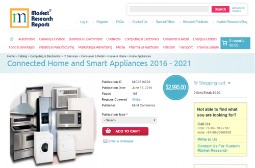 Connected Home and Smart Appliances 2016 - 2021'