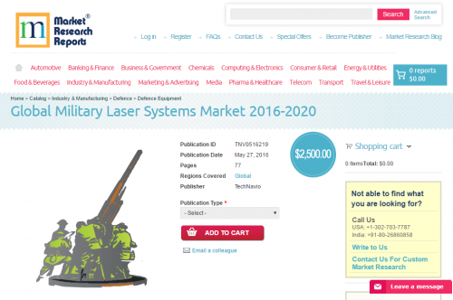Global Military Laser Systems Market 2016 - 2020'