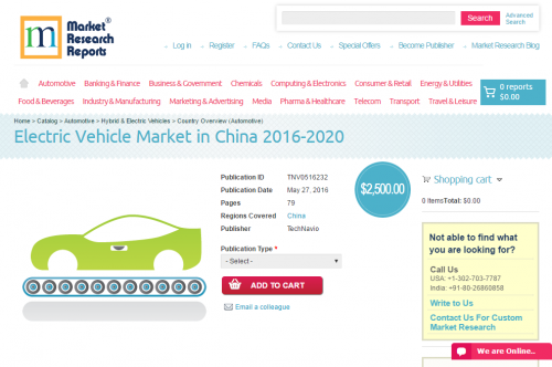Electric Vehicle Market in China 2016 - 2020'