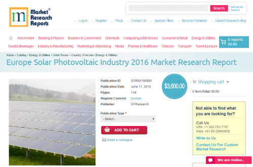 Europe Solar Photovoltaic Industry 2016'