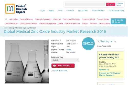 Global Medical Zinc Oxide Industry Market Research 2016'