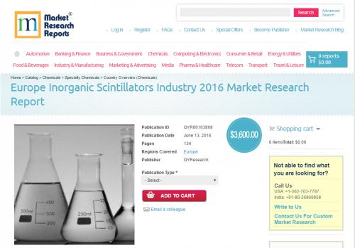 Europe Inorganic Scintillators Industry 2016 Market Research'