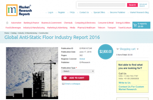Global Anti-Static Floor Industry Report 2016'