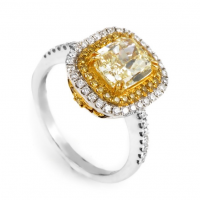 Multi-Gold Light Fancy Yellow Diamond Engagement Ring