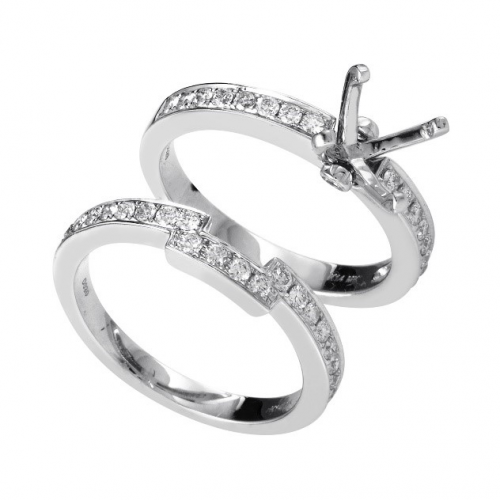 White Gold Diamond Bridal Mounting Set'