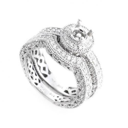 White Gold Diamond Bridal Mounting ring'