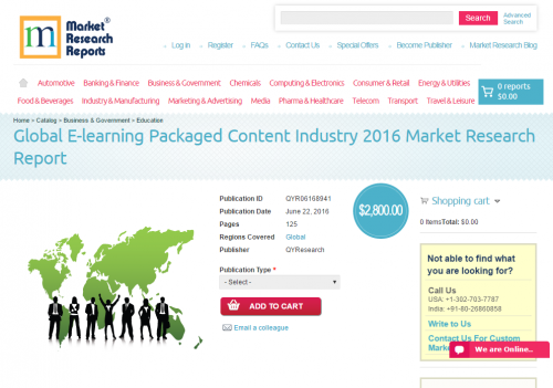 Global E-learning Packaged Content Industry 2016'