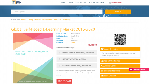 Global Self-Paced E-Learning Market 2016 - 2020'