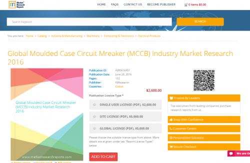 Global Moulded Case Circuit Mreaker (MCCB) Industry 2016'