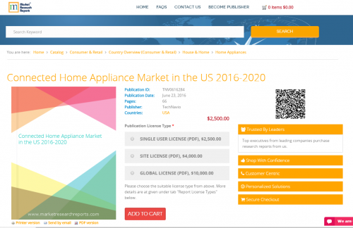 Connected Home Appliance Market in the US 2016 - 2020'
