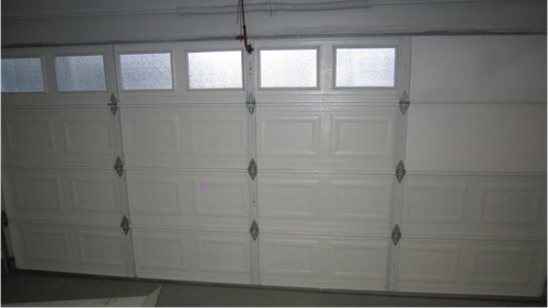 garage door insullation pannel installed'