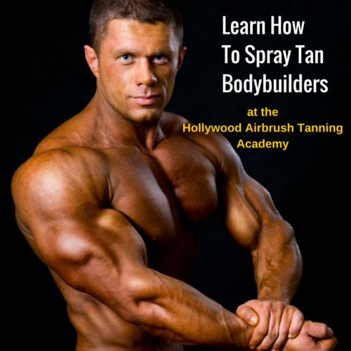 Learn how to spray tan bodybuilders'