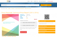 China Pesticide Technical Price Report (2013-2016)
