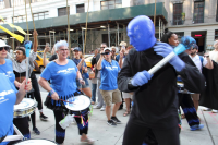 Fogo Azul NYC and Blue Man Group band their drums together.