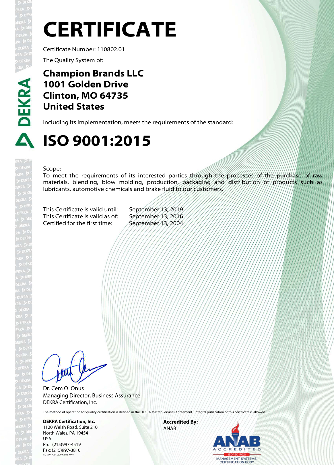Champion Brands, LLC Achieves Newest ISO 9001-2015 Certifica