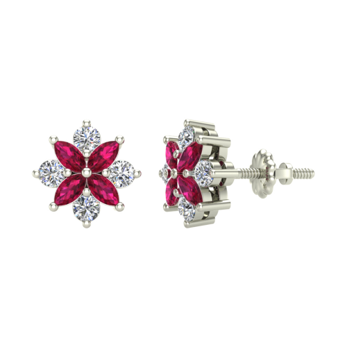 Ruby & Diamond Stud Earrings'