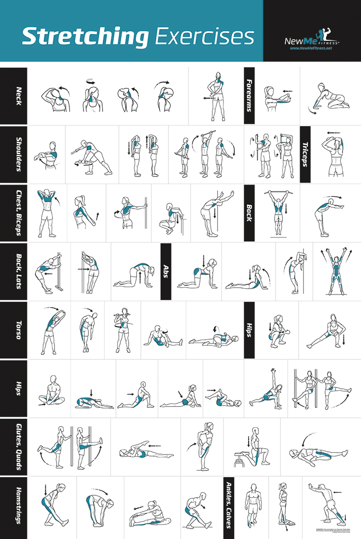 NewMe Fitness Stretching Exercise Poster on Amazon