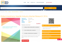 Global Anesthesia Needle Industry Market Research 2016
