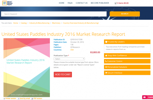 United States Paddles Industry 2016 Market Research Report'