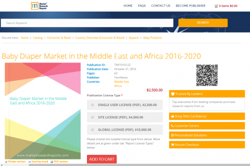 Baby Diaper Market in the Middle East and Africa 2016 - 2020'