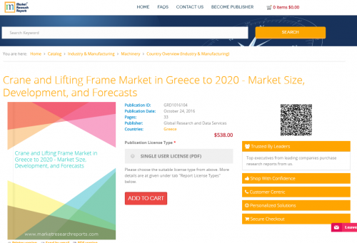 Crane and Lifting Frame Market in Greece to 2020'