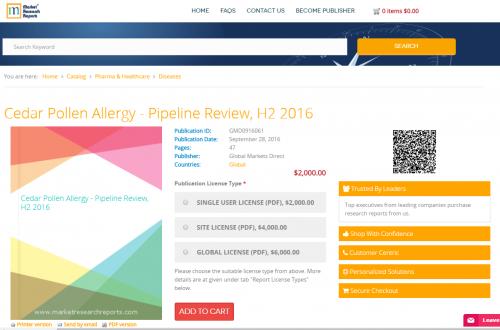 Cedar Pollen Allergy - Pipeline Review, H2 2016'