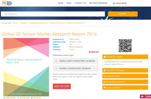 Global 3D Sensor Market Research Report 2016'